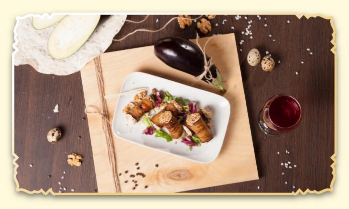 Рулетики из баклажанов с ореховой начинкой - Ресторан Восточная сказка - Восточная кухня в Миассе