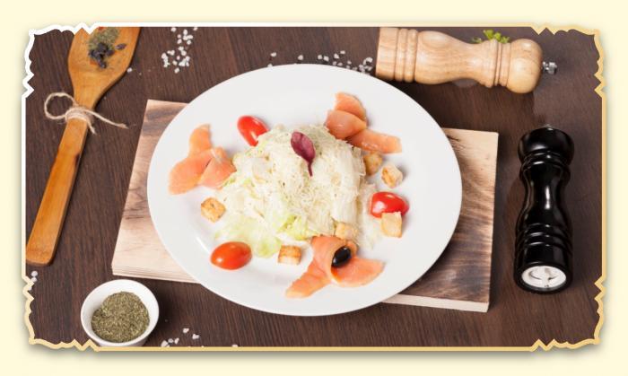 Цезарь с сёмгой - Ресторан Восточная сказка - Восточная кухня в Миассе