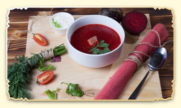 Борщ с телятиной - Ресторан Восточная сказка - Восточная кухня в Миассе