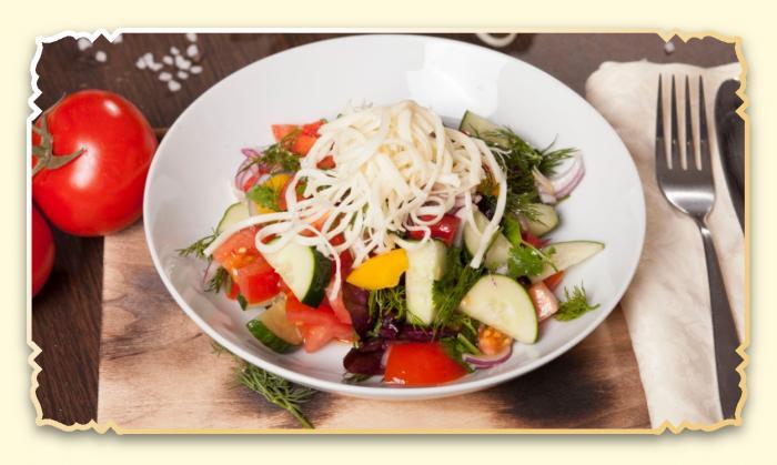Овощной салат с сыром сулугуни - Ресторан Восточная сказка - Восточная кухня в Миассе